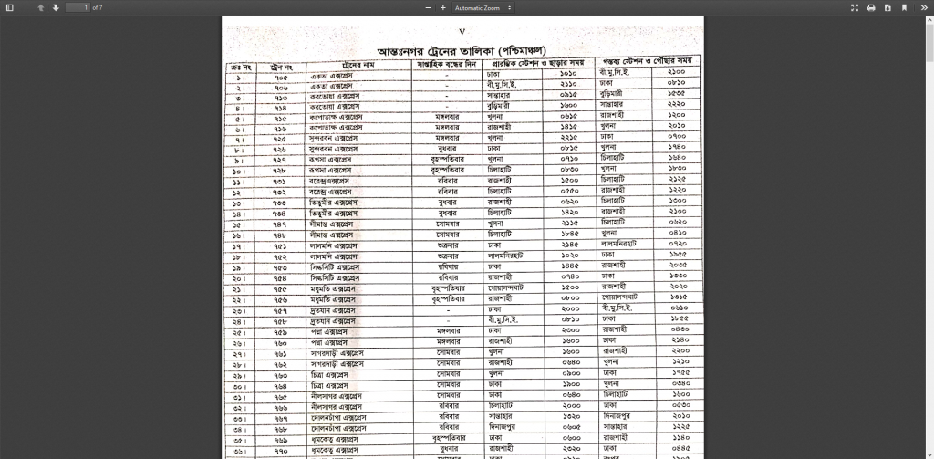Bangladesh railway west zone full Schedule
